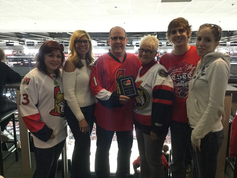 Lifetime volunteer Mike Spencer honoured at Sen's game