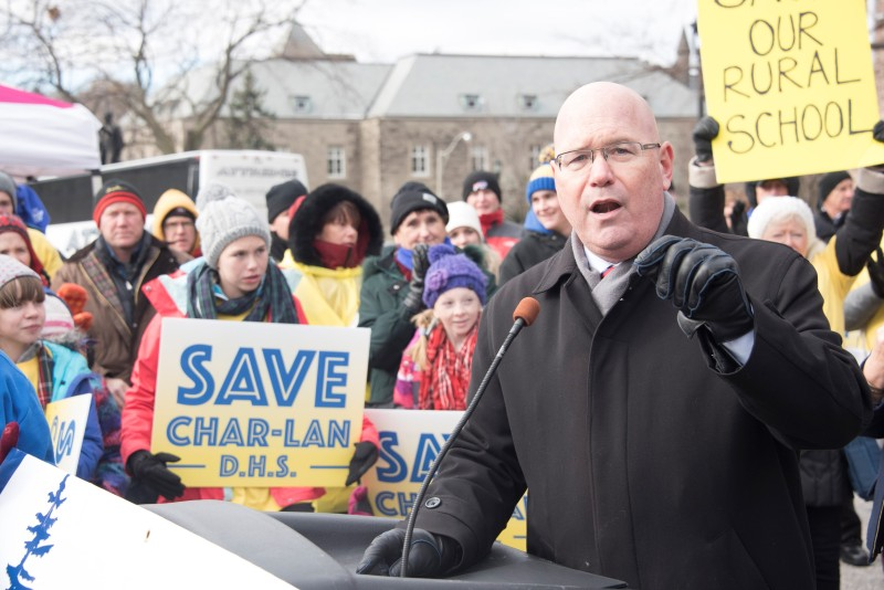 CLARK JOINS PARENTS AT QUEEN'S PARK TO PROTEST SCHOOL CLOSURES